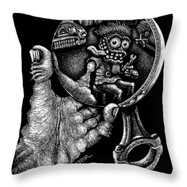 Self Reflection Throw Pillow by Bomonster