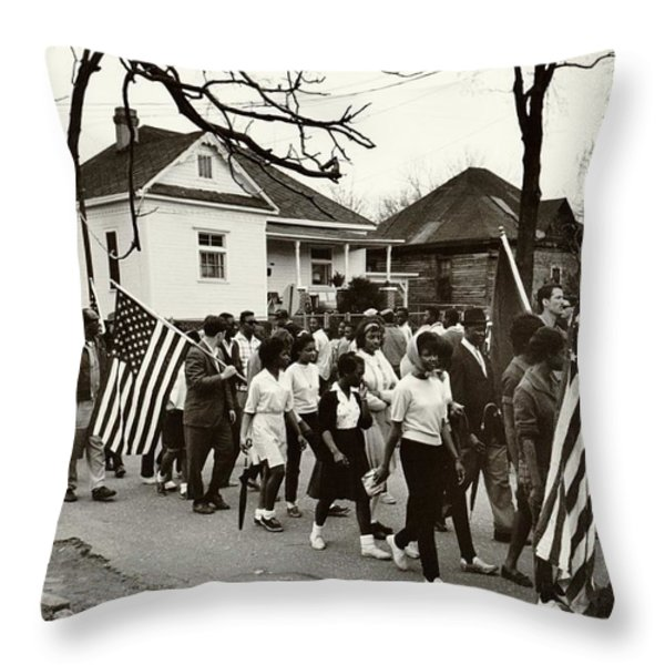 Selma to Montgomery Throw Pillow by Benjamin Yeager