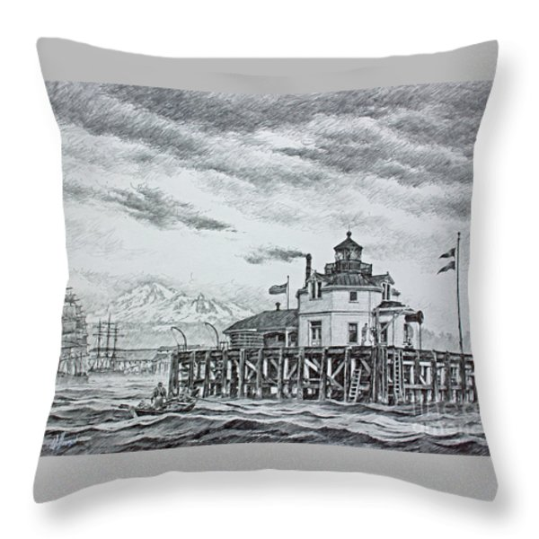 Semiahmoo Lighthouse - Drawing Throw Pillow by James Williamson