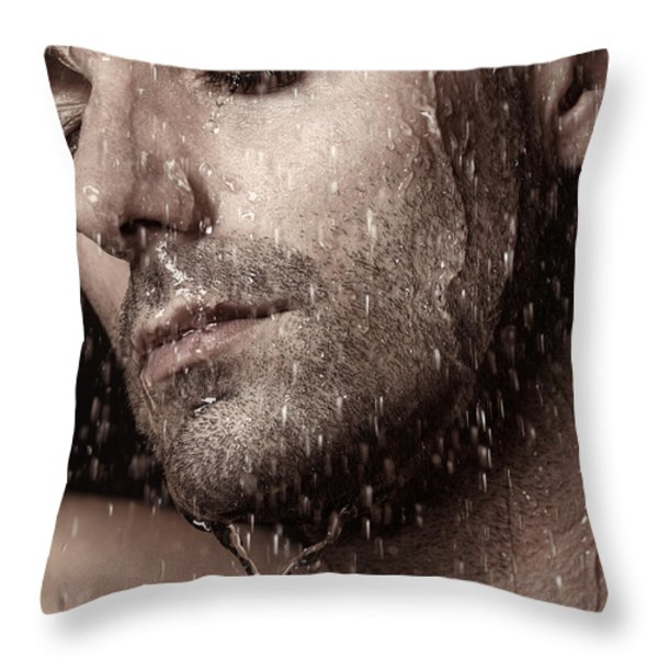 Sensual Portrait Of Man Face Under Pouring Water Throw Pillow by Oleksiy Maksymenko