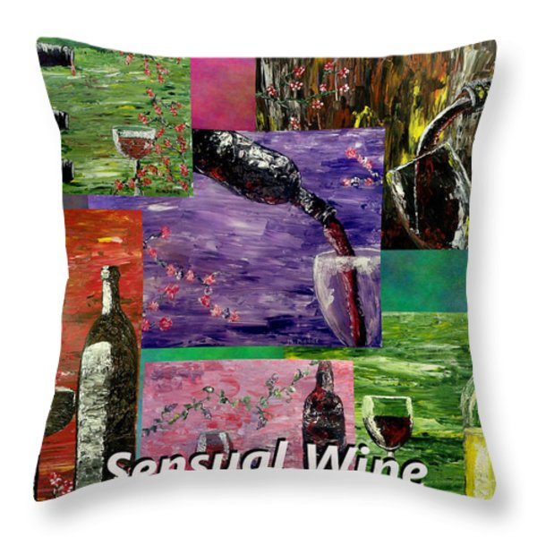 Sensual Wine Collage Throw Pillow by Mark Moore