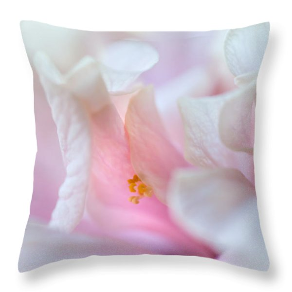 Sensuality. Peach Hibiscus. Macro Throw Pillow by Jenny Rainbow