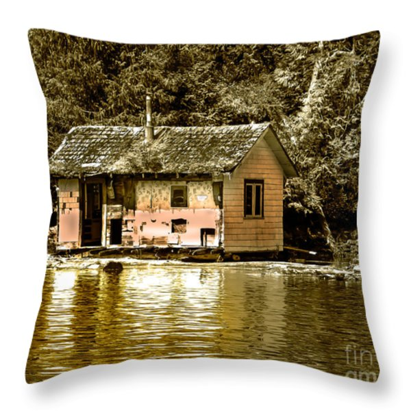 Sepia Floating House Throw Pillow by Robert Bales