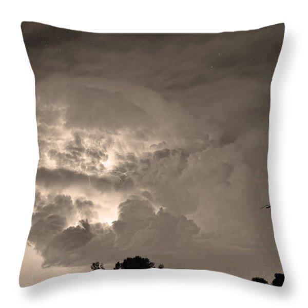 Sepia Light Show Throw Pillow by James BO  Insogna