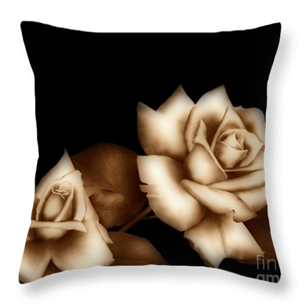 Sepia Roses Throw Pillow by Cheryl Young