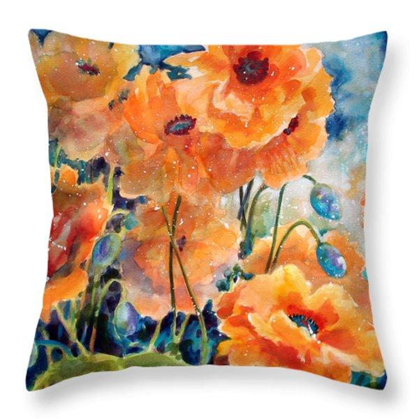 September Orange Poppies Throw Pillow by Kathy Braud