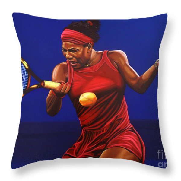 Serena Williams painting Throw Pillow by Paul  Meijering