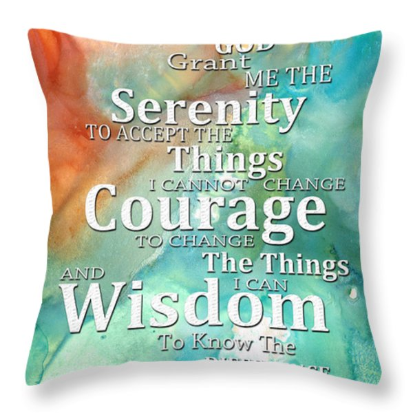 Serenity Prayer 1 - By Sharon Cummings Throw Pillow by Sharon Cummings
