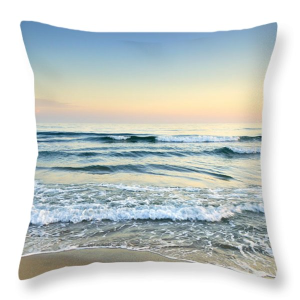 Serenity Sea Vintage Throw Pillow by Guido Montanes Castillo