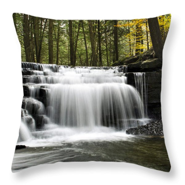 Serenity Waterfalls Landscape Throw Pillow by Christina Rollo