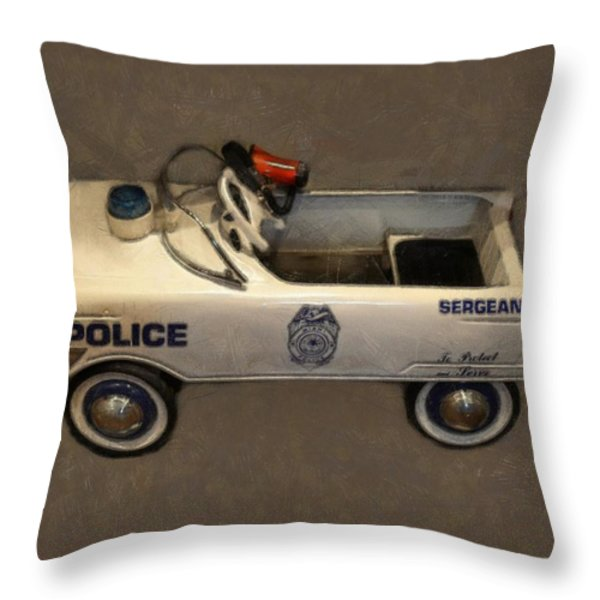 Sergeant Pedal Car Throw Pillow by Michelle Calkins