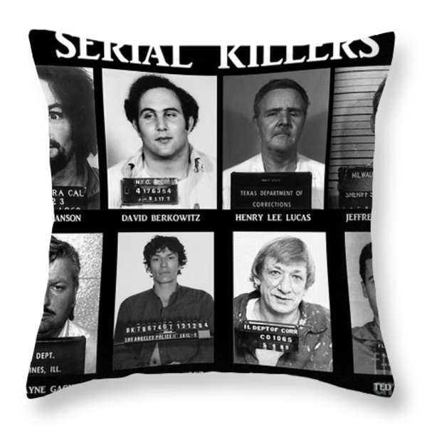 Serial Killers - Public Enemies Throw Pillow by Paul Ward