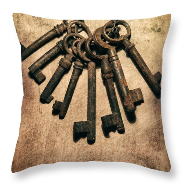 Set Of Old Rusty Keys On The Metal Surface Throw Pillow by Jaroslaw Blaminsky