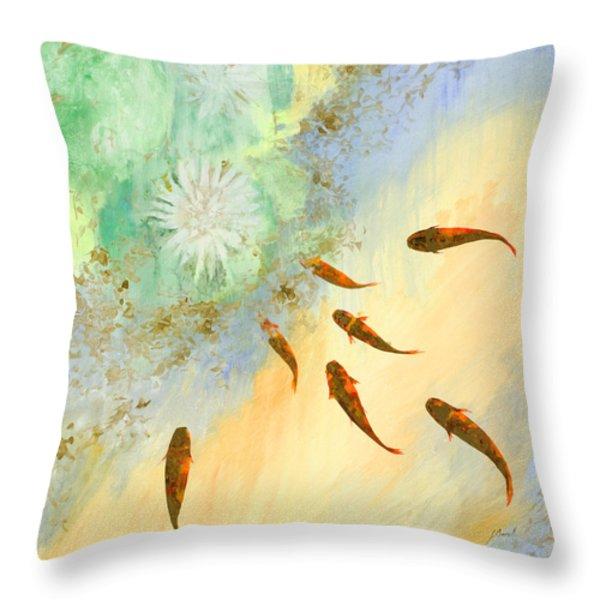 sette pesciolini verdi Throw Pillow by Guido Borelli