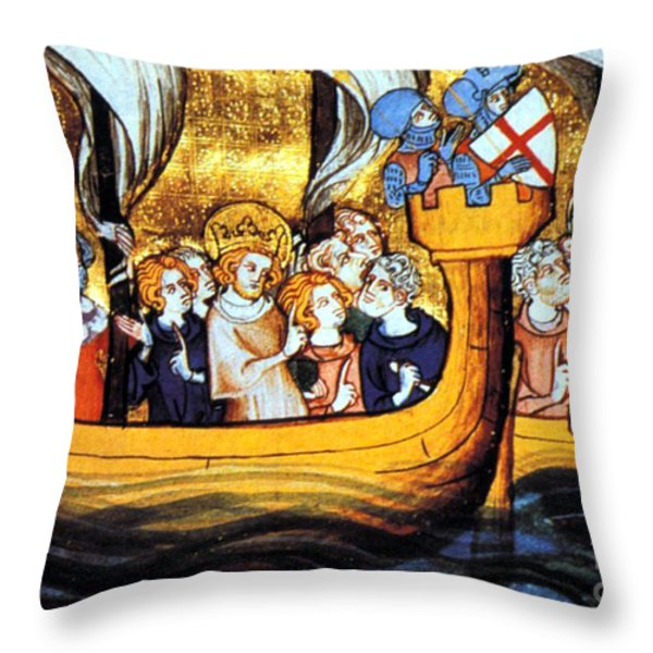 Seventh Crusade 13th Century Throw Pillow by Photo Researchers