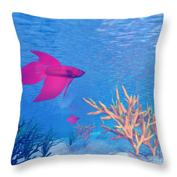 Several Red Betta Fish Swimming Throw Pillow by Elena Duvernay