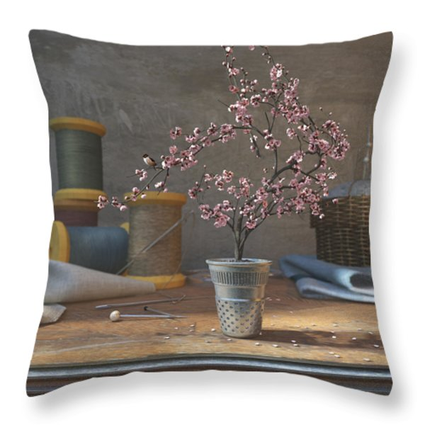 Sew Tiny Throw Pillow by Cynthia Decker