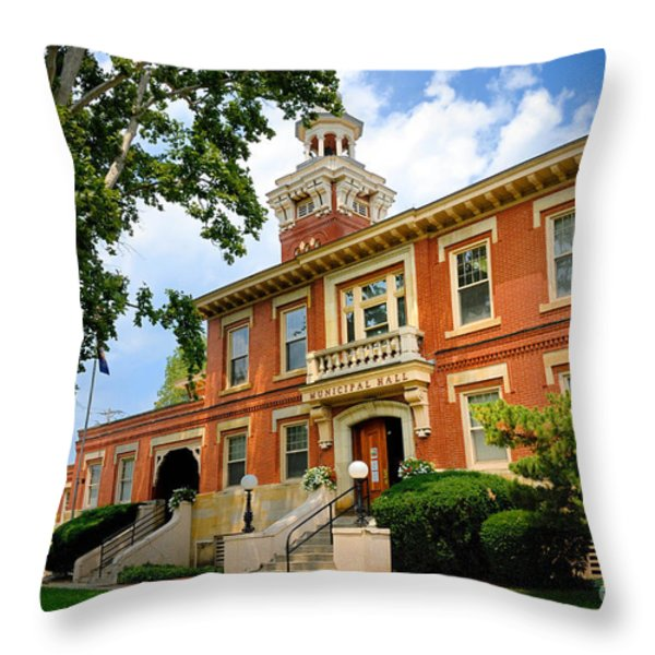 Sewickley Pennsylvania Municipal Hall Throw Pillow by Amy Cicconi