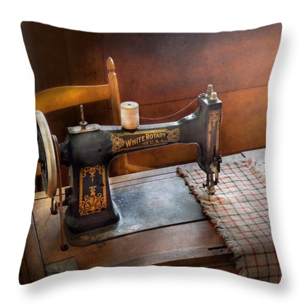 Sewing - It's just Black and White  Throw Pillow by Mike Savad