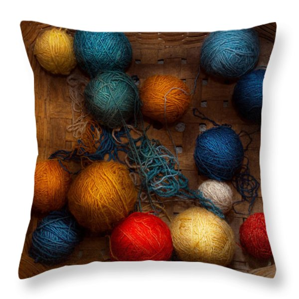 Sewing - Knitting - Yarn for cats Throw Pillow by Mike Savad