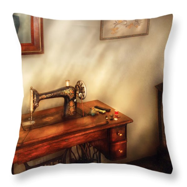 Sewing Machine - Sewing In A Cozy Room  Throw Pillow by Mike Savad
