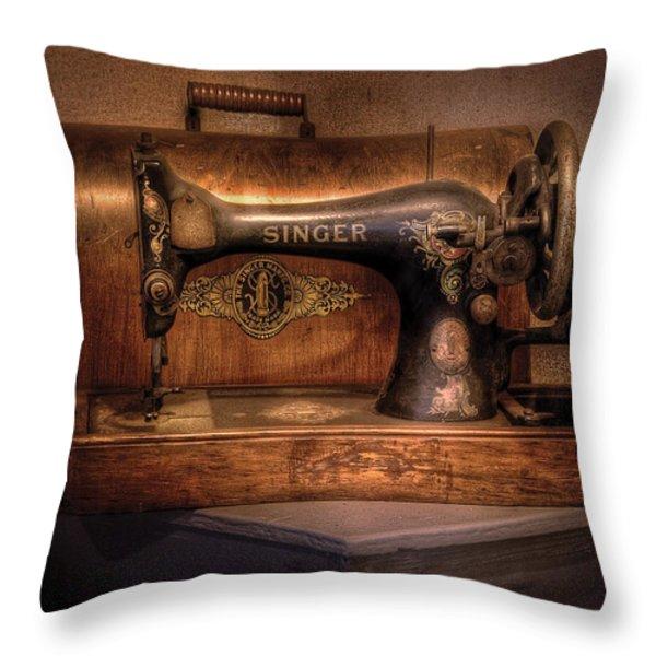 Sewing Machine  - Singer  Throw Pillow by Mike Savad