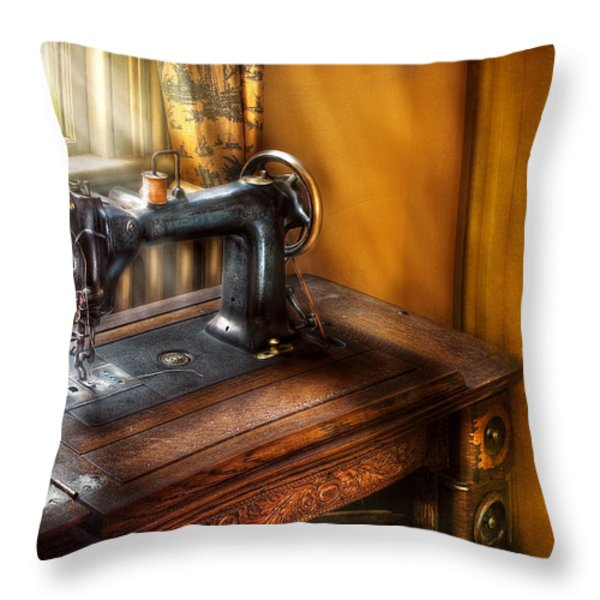 Sewing Machine  - The Sewing Machine  Throw Pillow by Mike Savad