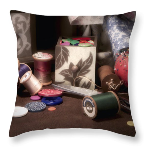 Sewing Notions II Throw Pillow by Tom Mc Nemar