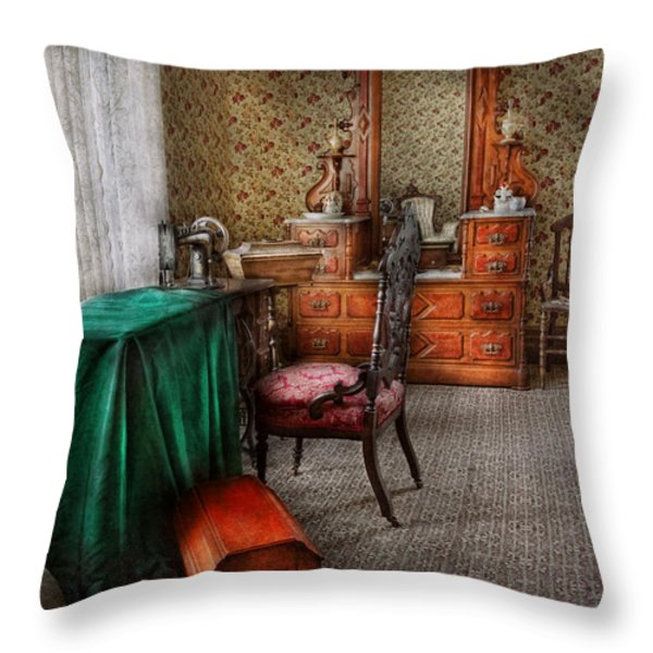 Sewing - Sewing can be rewarding Throw Pillow by Mike Savad