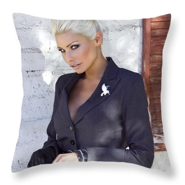 SHADOWING MADALEINE Palm Springs  Throw Pillow by William Dey