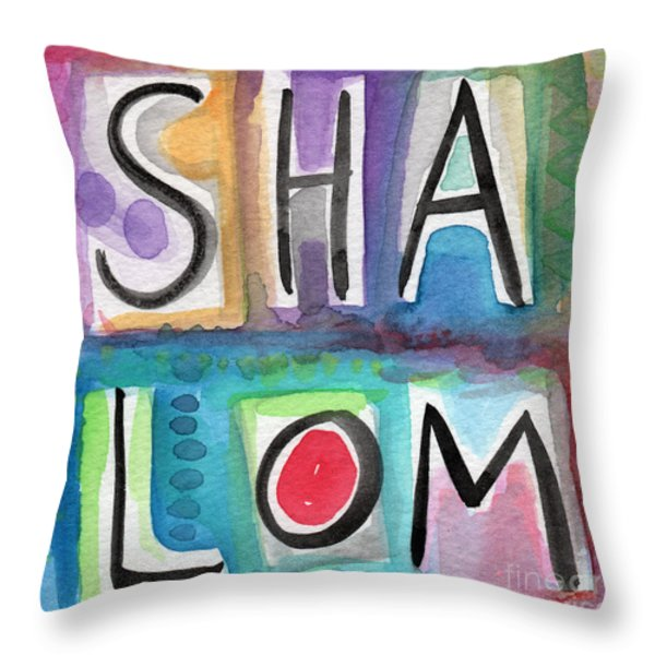 Shalom - Square Throw Pillow by Linda Woods