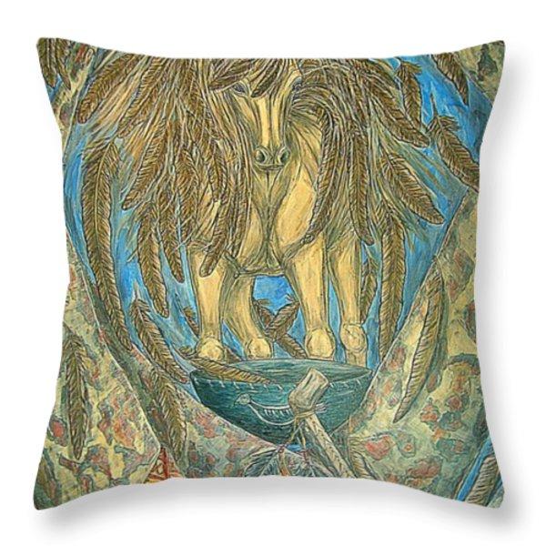 Shaman Spirit Throw Pillow by Kim Jones