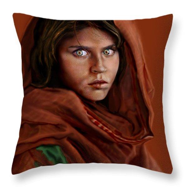 Sharbat Gula Throw Pillow by Reggie Duffie