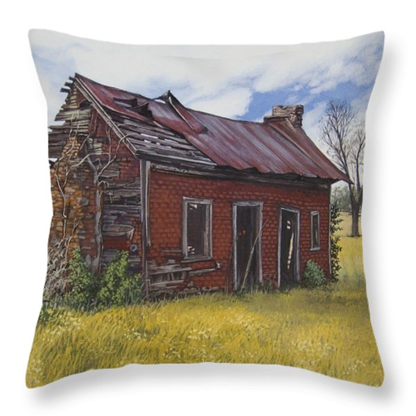 Sharecroppers Shack Throw Pillow by Peter Muzyka