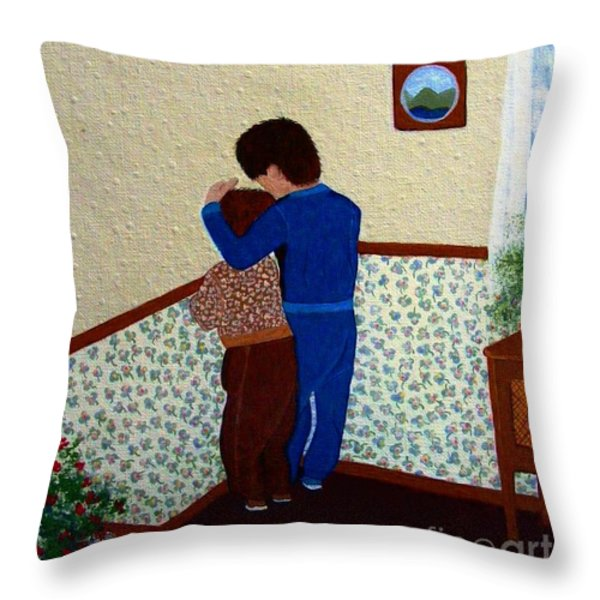 Sharing the Punishment Throw Pillow by Barbara Griffin