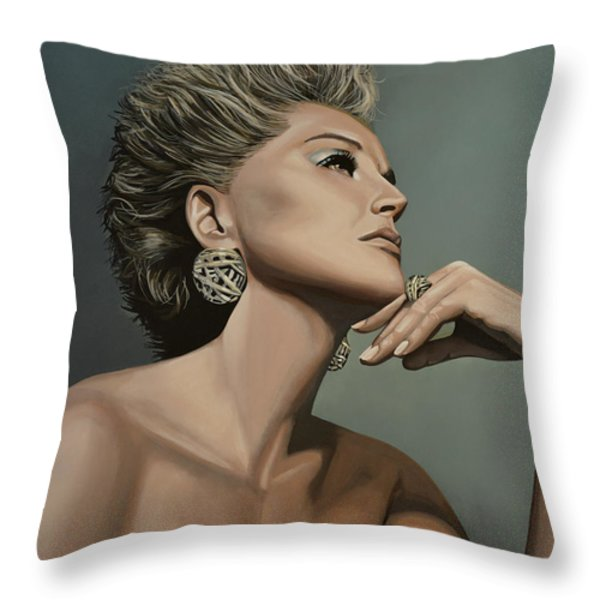 Sharon Stone Throw Pillow by Paul  Meijering
