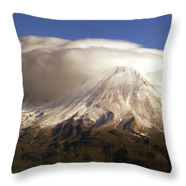 Shasta Storm Throw Pillow by Bill Gallagher