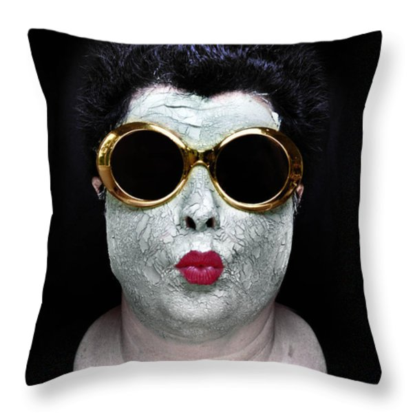 She Couldnt Achieve Her Glam Looks Without A Battery Of Beauty Throw Pillow by Amy Cicconi