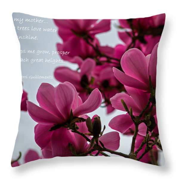 She Helps Me Grow - Mother's Day Throw Pillow by Jordan Blackstone
