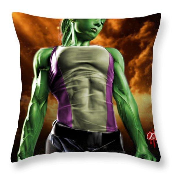 She-Hulk 2 Throw Pillow by Pete Tapang