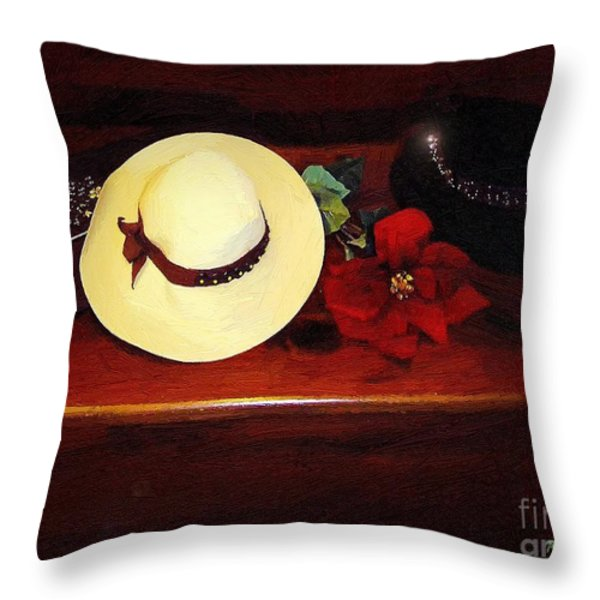 She Loved Hats Throw Pillow by RC DeWinter