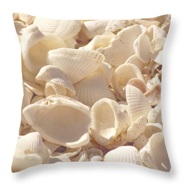 She Sells Seashells Throw Pillow by Kim Hojnacki