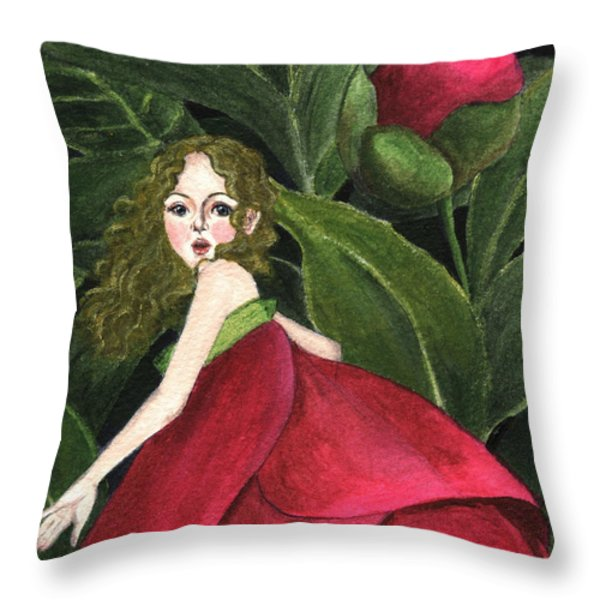 She Stole A Peony To Wear Throw Pillow by Jingfen Hwu