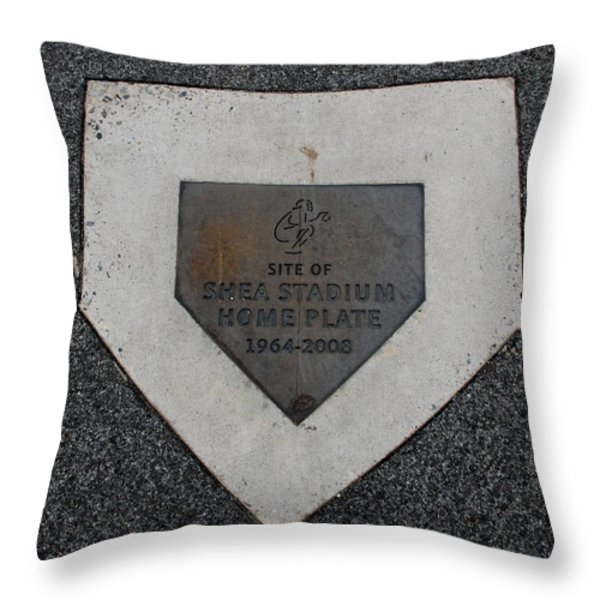 Shea Stadium Home Plate Throw Pillow by Rob Hans