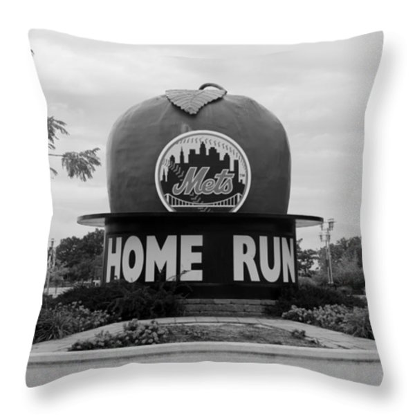 SHEA STADIUM HOME RUN APPLE in BLACK AND WHITE Throw Pillow by ROB HANS