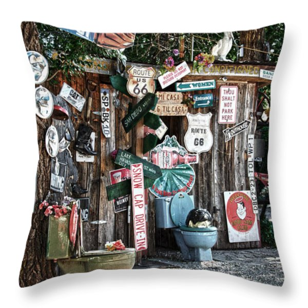 Shed Toilet Bowls And Plaques In Seligman Throw Pillow by RicardMN Photography