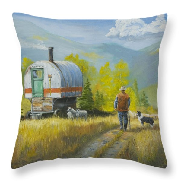 Sheep Camp Throw Pillow by Jerry McElroy