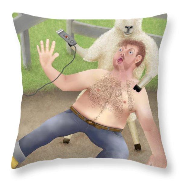 Sheep Shearing Throw Pillow by Marlene Watson