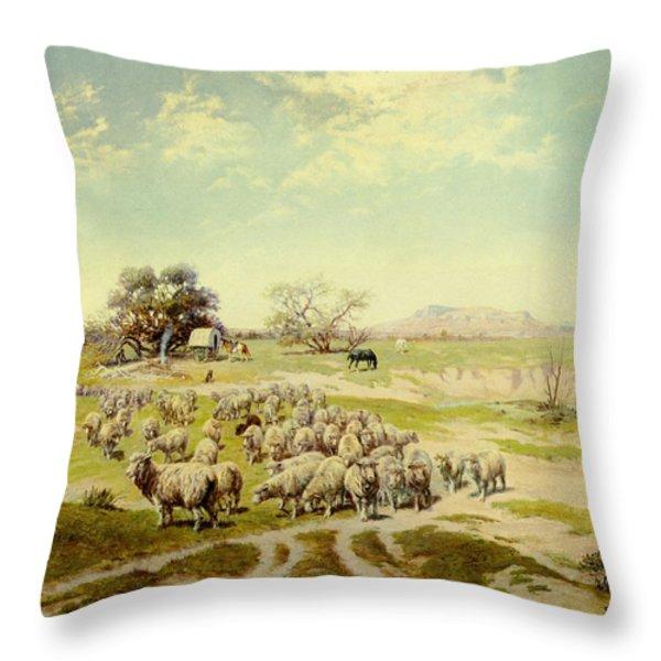 Sheepherding Montana Throw Pillow by Olaf Seltzer