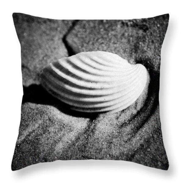 Shell on Sand black and white photo Throw Pillow by Raimond Klavins